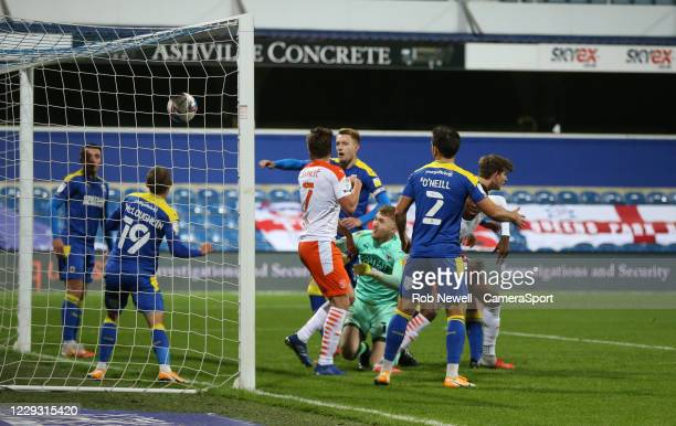 Blackpool get the ball in the back of the net in the first half but the goal was disallowed during the Sky Bet League One match between AFC Wimbledon...