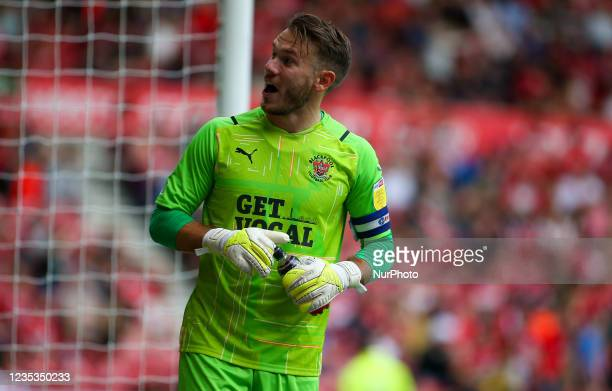 Blackpool Goalkeeper Chris Maxwell celebrates Blackpools equaliser during the Sky Bet Championship match between Middlesbrough and Blackpool at the...