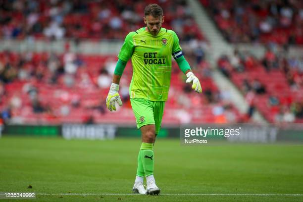 Blackpool Goalkeeper Chris Maxwell looks disappointed during the first half during the Sky Bet Championship match between Middlesbrough and Blackpool...