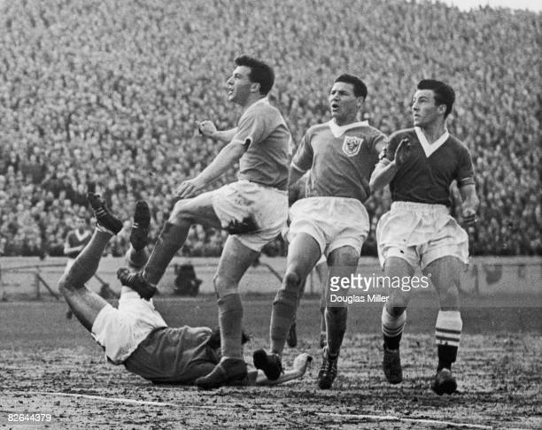 Blackpool goalkeeper George Farm on the ground as his right back Jimmy Armfield almost scores an owngoal during a Chelsea attack at Stamford Bridge...