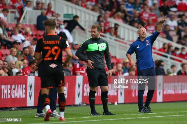 Blackpool Head Coach Neil Critchley shouts instructions on during the Sky Bet Championship match between Middlesbrough and Blackpool at the Riverside...