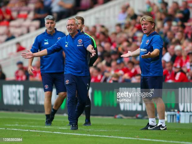 Blackpool Head Coach Neil Critchley shouts on instructions during the Sky Bet Championship match between Middlesbrough and Blackpool at the Riverside...
