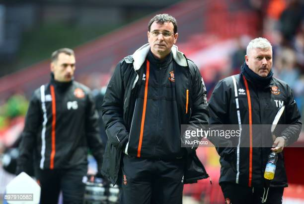Blackpool manager Gary Bowyer during Sky Bet League One match between Charlton Athletic against Blackpool at The Valley Stadium London on 23 Dec 2017