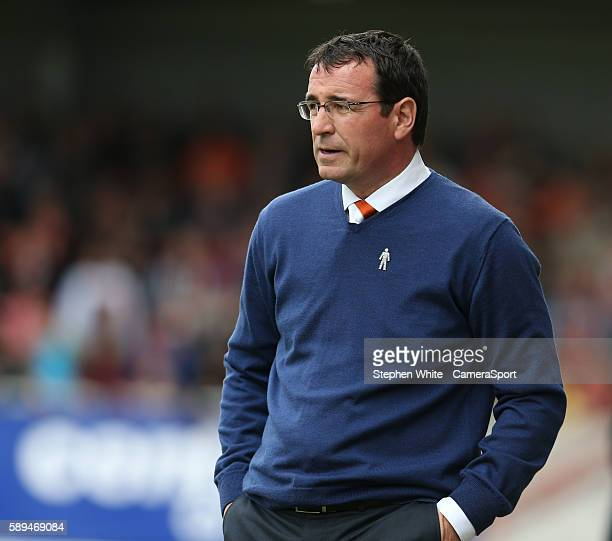 Blackpool manager Gary Bowyer during the EFL Sky Bet League Two match between Morecambe and Blackpool at the Globe Arena on August 13 in Morecambe...