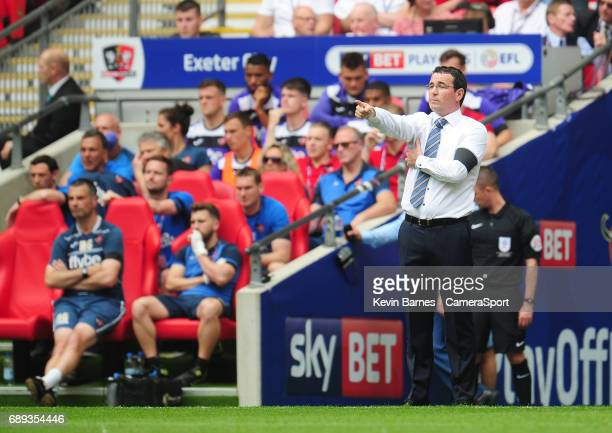 Blackpool manager Gary Bowyer during the EFL Sky Bet League Two PlayOff Final match between Blackpool and Exeter City at Wembley Stadium on May 28...