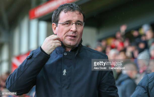 Blackpool manager Gary Bowyer during the Sky Bet League One match between Fleetwood Town and Blackpool at Highbury Stadium on November 25 2017 in...
