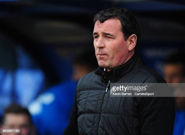 Blackpool manager Gary Bowyer during the Sky Bet League One match between Shrewsbury Town and Blackpool at New Meadow on December 16 2017 in...