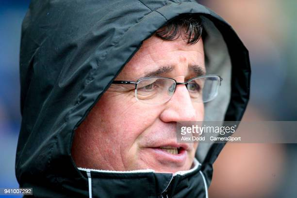 Blackpool manager Gary Bowyer during the Sky Bet League One match between Oldham Athletic and Blackpool at Boundary Park on April 2 2018 in Oldham...