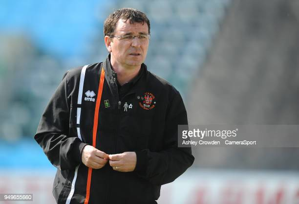 Blackpool manager Gary Bowyer during the Sky Bet League One match between Gillingham and Blackpool at Priestfield Stadium on April 21 2018 in...