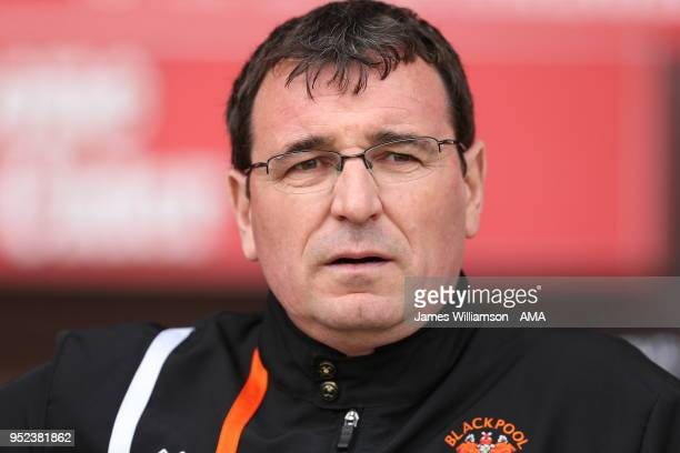 Blackpool manager Gary Bowyer during the Sky Bet League One match between Blackpool and Shrewsbury Town at Bloomfield Road on April 28 2018 in...