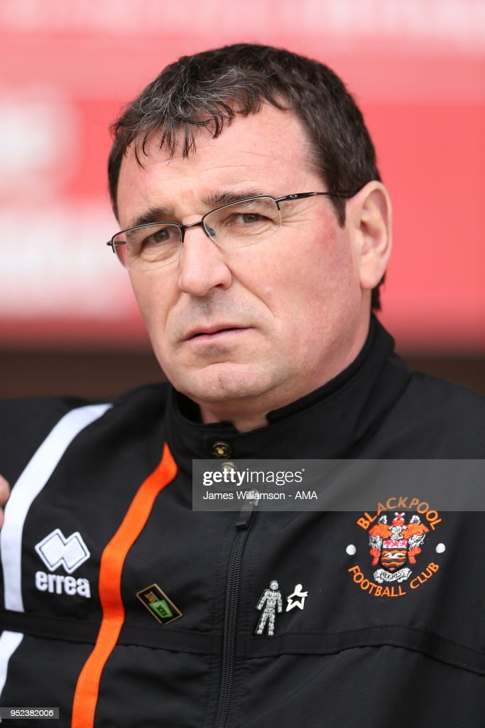 Blackpool manager Gary Bowyer during the Sky Bet League One match between Blackpool and Shrewsbury Town at Bloomfield Road on April 28, 2018 in Blackpool, England.