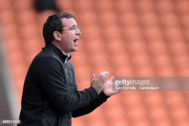 Blackpool manager Gary Bowyer gestures to his team during the Sky Bet League Two match between Blackpool and Accrington Stanley at Bloomfield Road on...