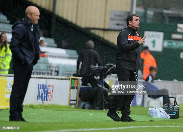 Blackpool manager Gary Bowyer gives advice from the technical area during the Sky Bet League Two match between Yeovil Town and Blackpool at Huish...