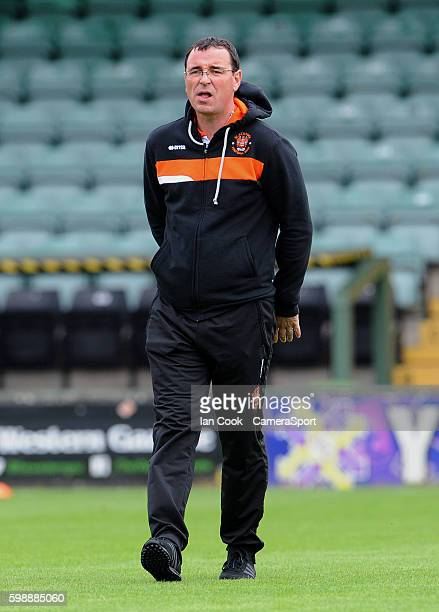 Blackpool manager Gary Bowyer inspects the pitch on arriving at Huish Park during the Sky Bet League Two match between Yeovil Town and Blackpool at...