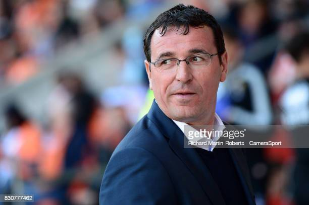 Blackpool manager Gary Bowyer looks on during the Sky Bet League One match between Blackpool and Milton Keynes Dons at Bloomfield Road on August 12...