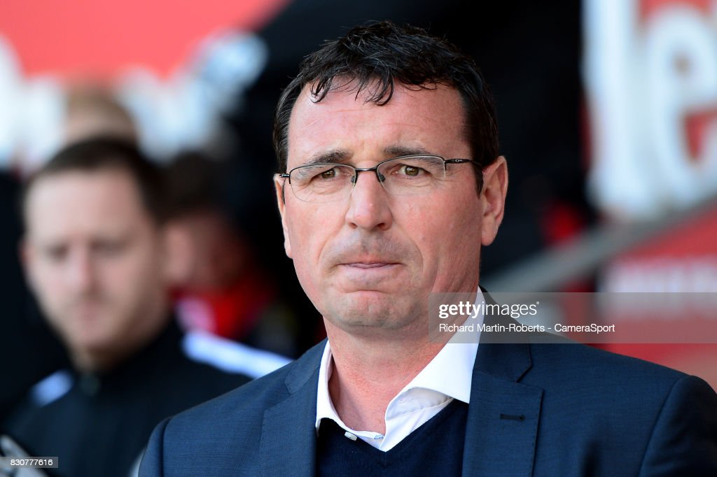 Blackpool manager Gary Bowyer looks on during the Sky Bet League One match between Blackpool and Milton Keynes Dons at Bloomfield Road on August 12, 2017 in Blackpool, England.