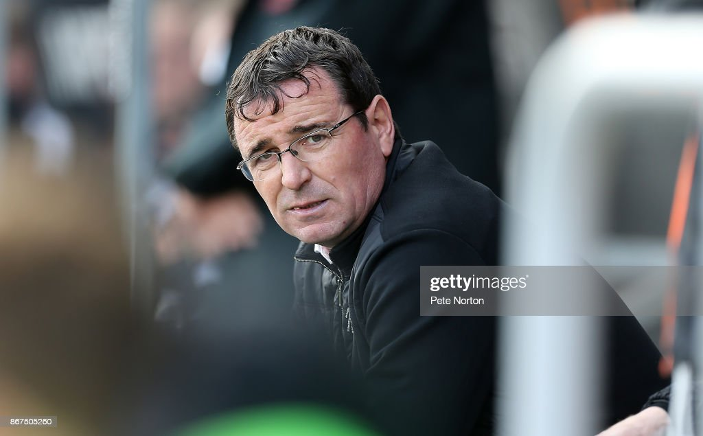 Blackpool manager Gary Bowyer looks on during the Sky Bet League One match between Northampton Town and Blackpool at Sixfields on October 28, 2017 in Northampton, England.