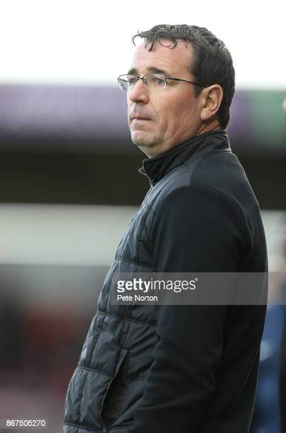 Blackpool manager Gary Bowyer looks on during the Sky Bet League One match between Northampton Town and Blackpool at Sixfields on October 28 2017 in...