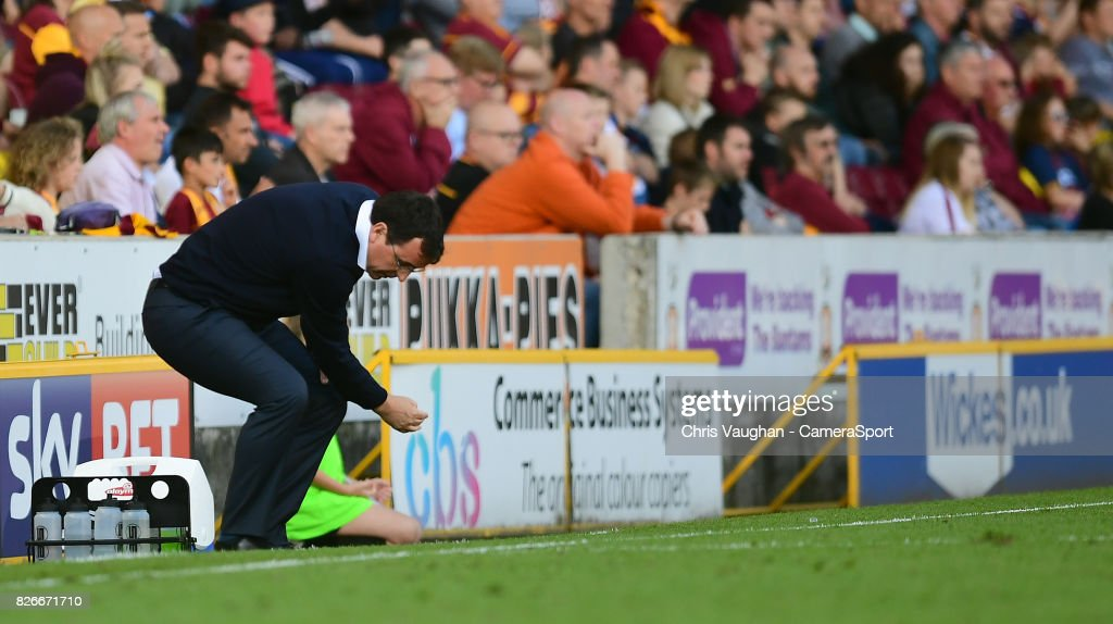 Blackpool manager Gary Bowyer reacts on the touchline during the Sky Bet League One match between Bradford City and Blackpool at Northern Commercials Stadium, Valley Parade on August 5, 2017 in Bradford, England.
