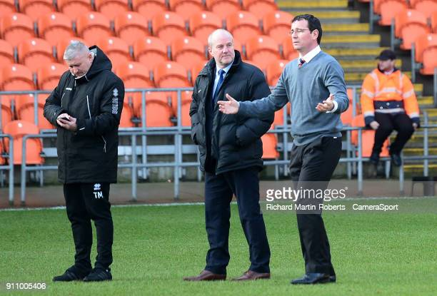 Blackpool manager Gary Bowyer reacts prior to kick off as the match is postponed due to a waterlogged pitch during the Sky Bet League One match...