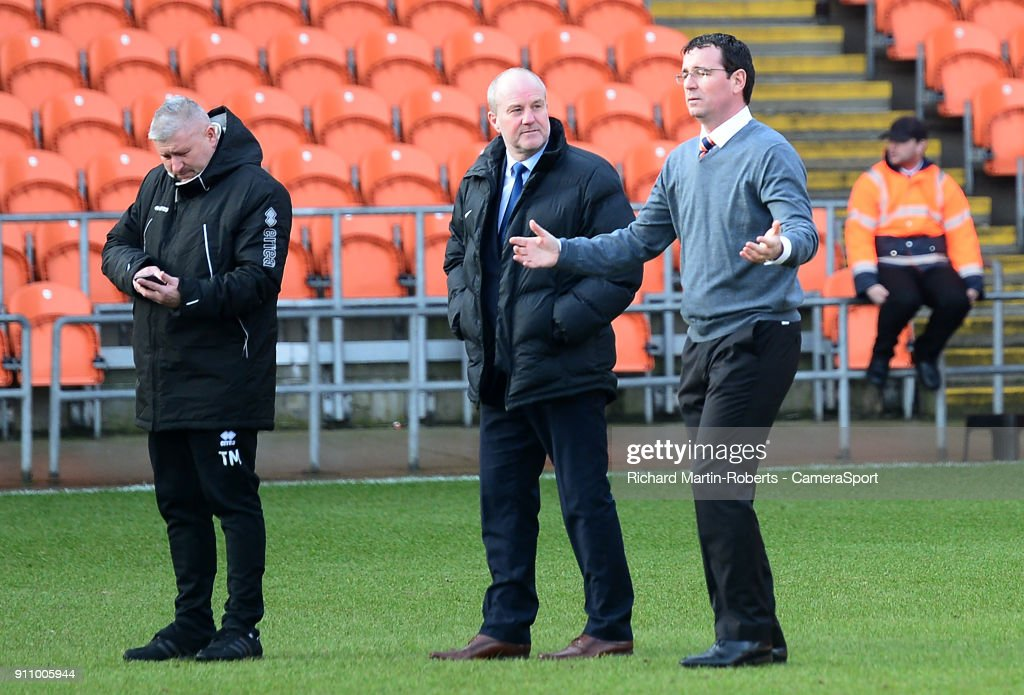 Blackpool manager Gary Bowyer reacts prior to kick off as the match is postponed due to a waterlogged pitch during the Sky Bet League One match between Blackpool and Charlton Athletic at Bloomfield Road on January 27, 2018 in Blackpool, England.
