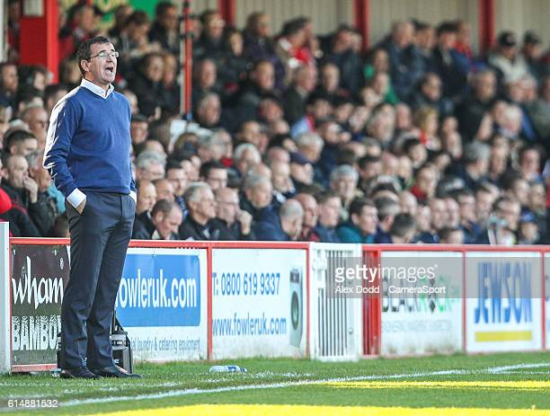Blackpool manager Gary Bowyer shouts instructions during the second half during the Sky Bet League Two match between Accrington Stanley and Blackpool...