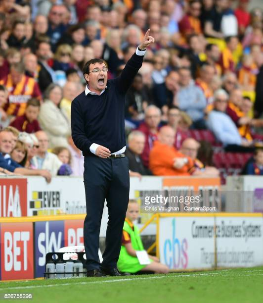 Blackpool manager Gary Bowyer shouts instructions to his team from the dugout during the Sky Bet League One match between Bradford City and Blackpool...