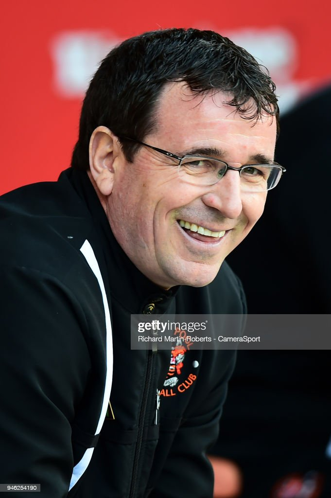 Blackpool manager Gary Bowyer smiles during the Sky Bet League One match between Blackpool and Fleetwood at Bloomfield Road on April 14, 2018 in Blackpool, England.