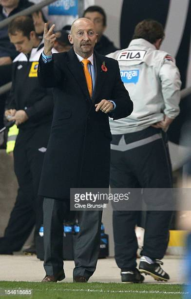Blackpool manager Ian Holloway shows his frustrations with his team during the npower Championship match between Blackpool and Nottingham Forest at...