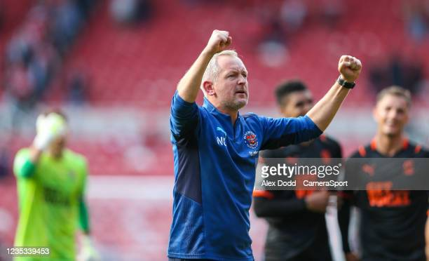 Blackpool manager Neil Critchley celebrates after the Sky Bet Championship match between Middlesbrough and Blackpool at Riverside Stadium on...