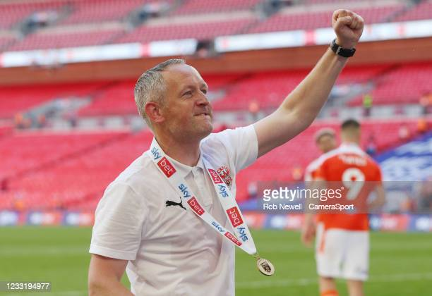 Blackpool manager Neil Critchley celebrates with the fans during the Sky Bet League One Play-off Final match between Blackpool and Lincoln City at...