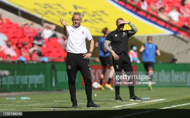 Blackpool manager Neil Critchley during the Sky Bet League One Play-off Final match between Blackpool and Lincoln City at Wembley Stadium on May 30,...