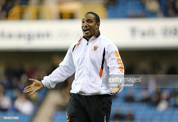 Blackpool manager Paul Ince gets animated on the touchline during the Sky Bet Championship match between Millwall and Blackpool at The Den on...