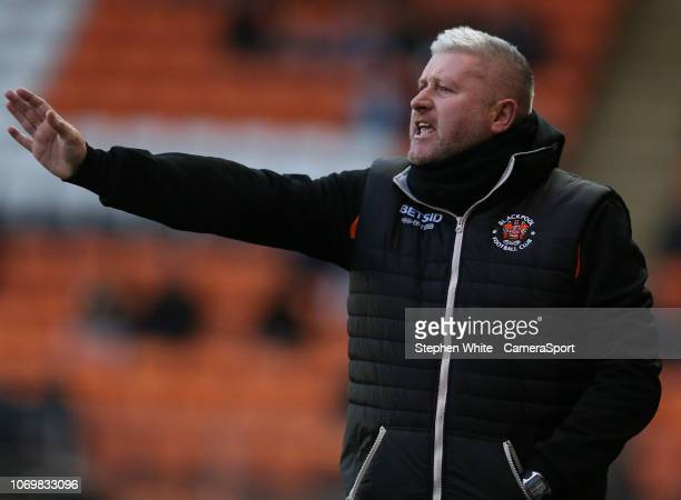 Blackpool manager Terry McPhillips shouts instructions to his team from the dugout during the Sky Bet League One match between Blackpool and Charlton...