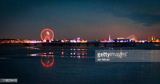 blackpool pier and lights - blackpool stock photos and pictures
