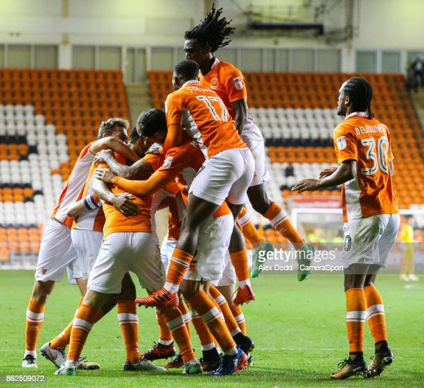 Blackpool players celebrate Curtis Tilt's goal during the Sky Bet League One match between Blackpool and Bury at Bloomfield Road on October 17 2017...