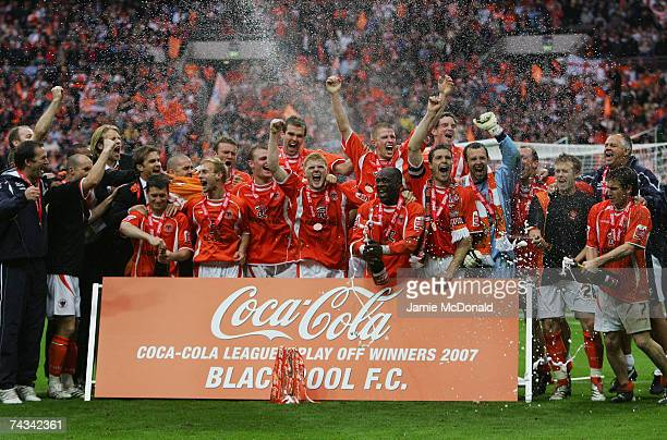 Blackpool players celebrate promotion during the League 1 Playoff Final between Blackpool and Yeovil Town at Wembley Stadium on May 27 2007 in London...