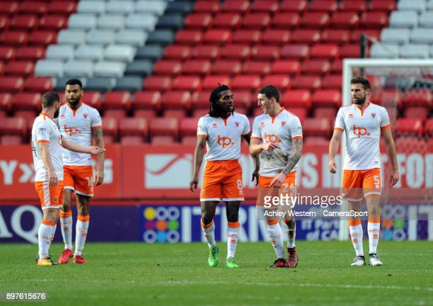 Blackpool players dejected as Charlton Athletic's Joe Aribo scores the opening goal during the Sky Bet League One match between Charlton Athletic and...