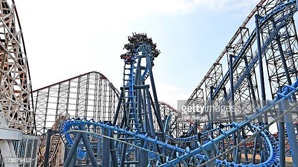 Blackpool Pleasure Beach amusement park Roller Coaster - a mess of steel and wood. A great family day out for kids. A great experience.