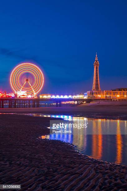 Blackpool Tower and beach at low tide at night