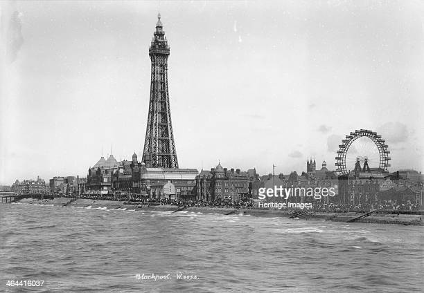 Blackpool Tower and the front Blackpool Lancashire 18941910 A view looking northeast from the Central Pier towards Blackpool Tower with crowds of...