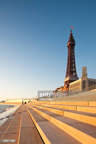 blackpool tower, created and built by charles tuke and james maxwell, on blackpool beach, blackpool, lancashire, england, uk - blackpool tower stock pictures, royalty-free photos & images