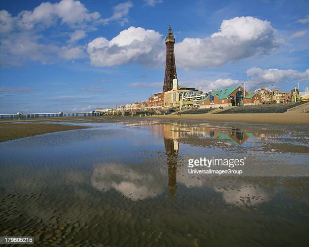 Blackpool Tower from sands Lancashire England United Kingdom