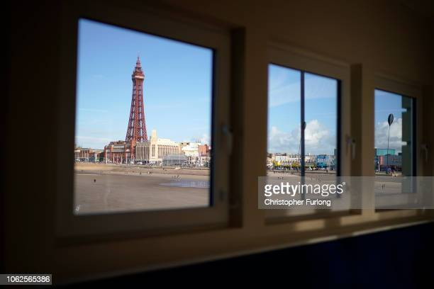 Blackpool Tower is seen through a cafe window on Central Pier on November 2 2018 in Blackpool England