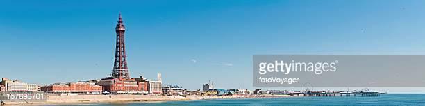 blackpool tower piers pleasure beach seaside holiday resort panorama uk - blackpool stock photos and pictures