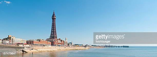 blackpool tower promenade panorama uk - blackpool stock photos and pictures
