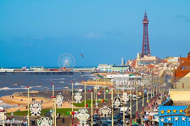 Blackpool Town Centre with Famous Tower and Street Lights