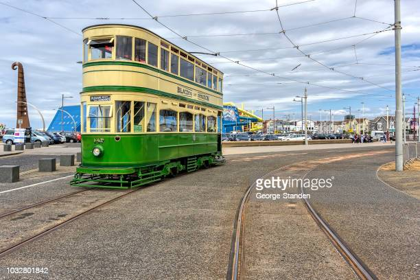 blackpool tram. - blackpool stock pictures, royalty-free photos & images