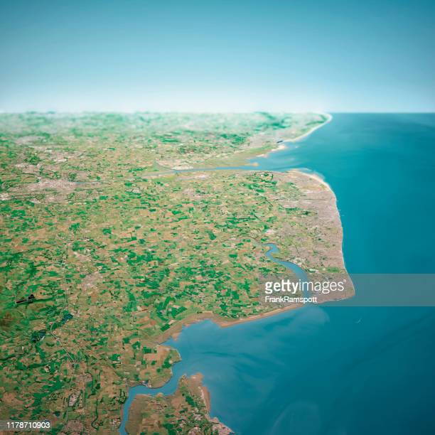 blackpool uk 3d render aerial horizon view from north jun 2018 - frank ramspott stock pictures, royalty-free photos & images