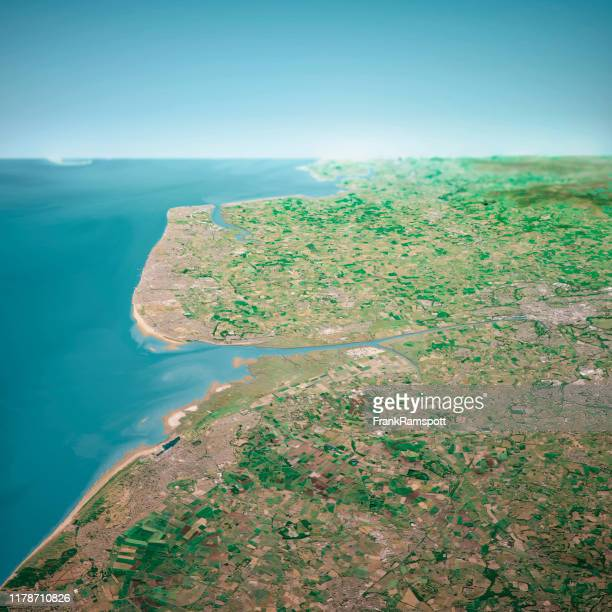 blackpool uk 3d render aerial horizon view from south jun 2018 - frank ramspott stock pictures, royalty-free photos & images